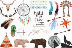 Wild and Free - Tribal Watercolor Illustrations Product Image 2