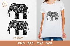 Boho Elephant SVG, Elephant silhouette SVG, Floral elephant Product Image 1