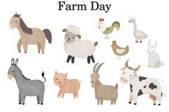 Farm clipart, Watercolor farm animals, Farm PNG, Farm print Product Image 2