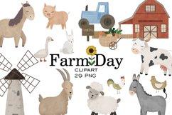 Farm clipart, Watercolor farm animals, Farm PNG, Farm print Product Image 1
