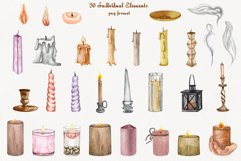 Candles Watercolor Clipart Product Image 5