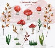 Amanita Mushrooms Watercolor Clipart Product Image 4