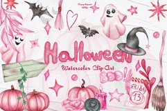 Pink Halloween Watercolor Clipart Product Image 1