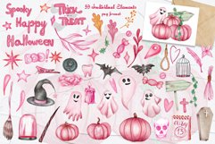 Pink Halloween Watercolor Clipart Product Image 5