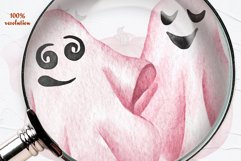 Pink Halloween Watercolor Clipart Product Image 3