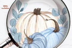 Blue Pumpkins Watercolor Clipart Product Image 5