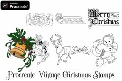 Procreate Vintage Christmas Stamps - 8 stamp brushes Product Image 4