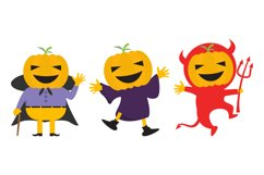 cute pumpkin with halloween costumes Product Image 1