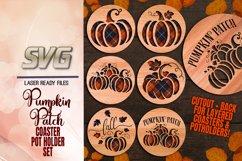 Pumpkin Patch Coaster Set SVG Glowforge Files Bundle Product Image 1