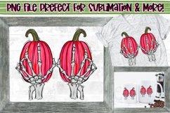 Skeleton hands & pink pumpkins|Breast Cancer Awareness PNG Product Image 1