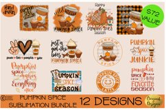 Pumpkin Spice Sublimation Bundle 12 Hand Drawn PNG Designs Product Image 1