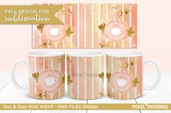Pumpkin Spice Sublimation Design for Mugs shown from 3 sides