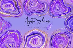 Purple Agate Clipart, Watercolor Agate Slices, Gold Agate Product Image 1