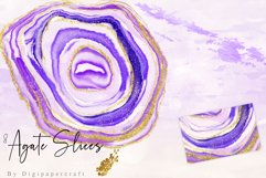 Purple Agate Clipart, Watercolor Agate Slices, Gold Agate Product Image 3