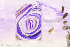 Purple Agate Clipart, Watercolor Agate Slices, Gold Agate Product Image 6