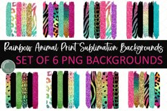 Rainbow Animal Prints Background for Sublimation Deisngs Set of 6