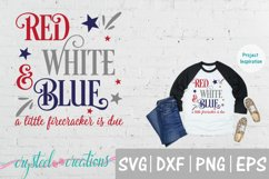 Red White & Blue a lil firecracker Pregnant SVG, DXF, PNG Product Image 1