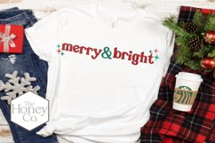 Retro Merry and Bright Christmas SVG PNG DXF Hand Lettered Product Image 2