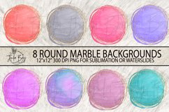 Round Marble Sublimation Backgrounds with Gold Glitter Frames