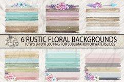 Rustic Wood grunge with flowers Sublimation Backgrounds Boho Rectangle Mug Backgrounds