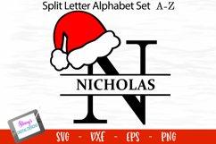 Santa Hat Split Letters A-Z - 26 Christmas Monogram Letters Product Image 1