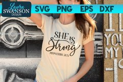 She is Strong SVG Cut File | Christian SVG Cut File Product Image 1