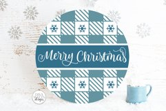 Merry Christmas Plaid Pattern SVG | Round Winter Welcome Product Image 4