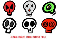 Cartoon Human Skulls Collection for Halloween and Spooky Product Image 2