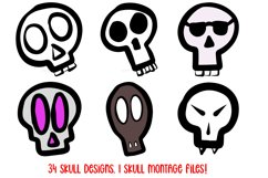 Cartoon Human Skulls Collection for Halloween and Spooky Product Image 3