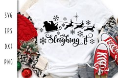 Sleighing It Santa Claus & Reindeer - Christmas SVG Product Image 1