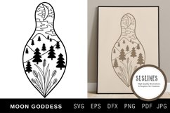 Moon Goddess Illustration with flowers SVG EPS PNG Product Image 1