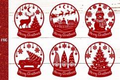 Snow Globe Bundle SVG,Christmas Papercut,Merry Christmas SVG Product Image 3