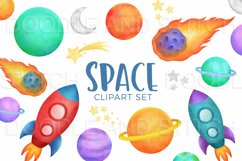 Watercolor Space Clipart Illustrations Product Image 4