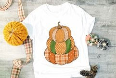 Pumpkin Stack Sublimation PNG Fall Plaid Product Image 4