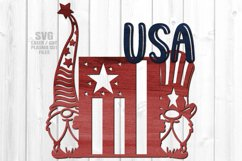 USA American Flag Garden Gnome Sign SVG Glowforge Files Product Image 2