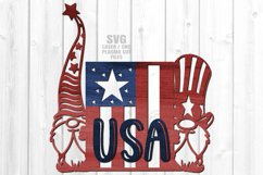 USA American Flag Garden Gnome Sign SVG Glowforge Files Product Image 1