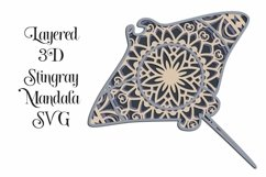 Stingray Mandala 4 Layered 3D Design SVG Product Image 1
