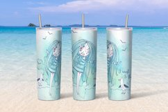 Sea beach with cute girls tumbler sublimation design Png. Product Image 5