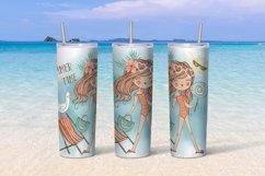 Beach girls tumbler sublimation design 20 oz skinny Product Image 5