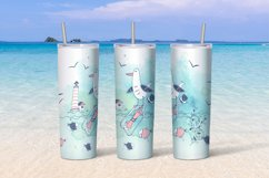 Sea beach with cute girls tumbler sublimation design Png. Product Image 3