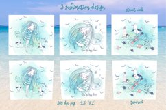 Sea beach with cute girls tumbler sublimation design Png. Product Image 2