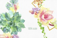 Watercolor floral frame clipart with hand drawn succulent bouquet will be great for wedding invitation design, bride shower, logo design, card making, craft