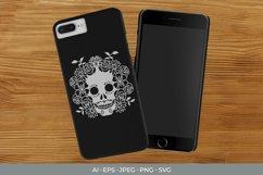 Sugar Skull & Flowers SVG Product Image 2