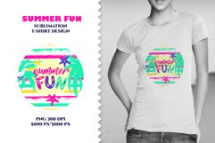 SUMMER FUN sublimation t shirt design . Texture stripes, palm, silhouette toucan in circle