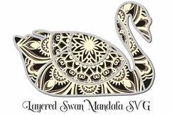 Swan Mandala 4 Layered 3D Design SVG Paper Cutting Product Image 1