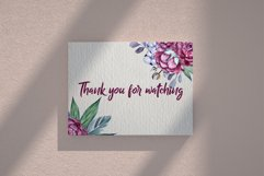 Burgundy peonies watercolor clipart set Product Image 6