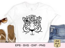 Tiger SVG silhouette outline with flower decorated crown Product Image 2