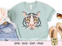 Tiger SVG silhouette outline with flower decorated crown Product Image 3