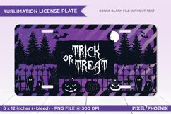 Trick Or Treat License Plate Sublimation for Halloween in purple
