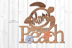 Welcome To The Beach Turtle Sign SVG Glowforge Laser Files Product Image 1